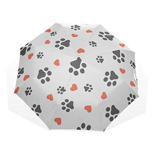Cool Umbrella Compact Love Heart Cat Paw Cartoon 3 Fold Art Umbrellas(Outside Printing Sun&rain Travel Umbrella Boy Windproof Travel Umbrella Mens Umbrella Compact