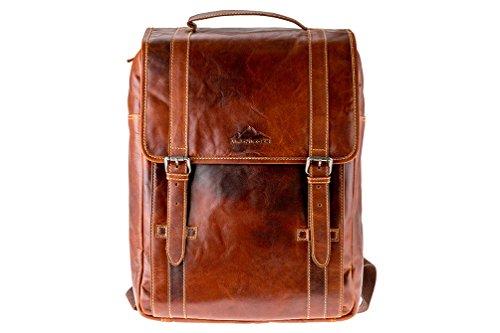 Business-Rucksack BOZEN | Echtes Büffel-Leder | Herren Damen Vintage Daypack Braun | by Alpenleder