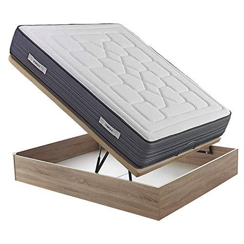 Colchón visco-grafeno Relax Khala 27 cm Anti-acaros + Canapé Abatible Relax 3D Gran Capacidad Altura 34 cm - Roble, 135x190cm