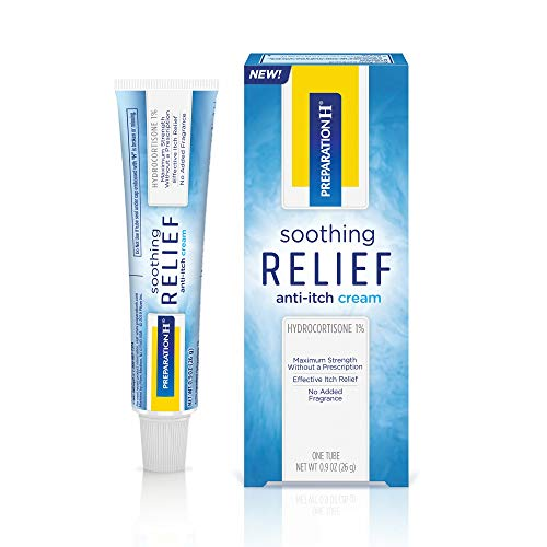 Preparation H Soothing Relief AntiItch Cream 1 Tube 09 Ounces Cream with Hydrocortisone for Butt Itch Relief