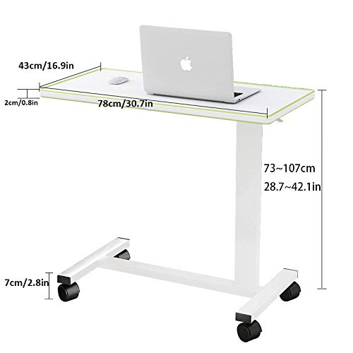 Steel Pipe Over Bed Table with White Density Board,Adjustable height, Lockable Casters,Bed Side Tables for Overbed Table, Coffee Table, Computer Desk
