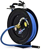 BluBird RMX BluSeal Retractable Water Hose Reel w/ Hot Water Rubber Hose 5/8' x 50' + 6' Lead-in + 9 Pattern Spray Nozzle - BSWR5850
