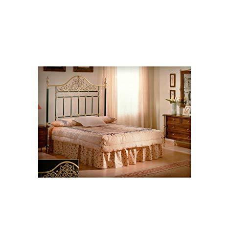 Cabecero de forja y latón Ágata - Blanco, Envejecido, Cabecero para colchón de 150 cm