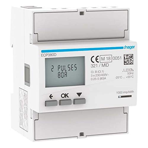 Hager Energiezähler 3phasig ECP380D direkt 80A, 4M, S0 Elektrizitätszähler 3250612231416