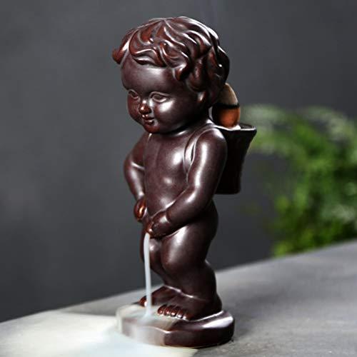 Mayco Bell Quemador de incienso de reflujo para decoración del hogar, de cerámica, diseño de cascada de humo de bebé, incensario de aroma (café)