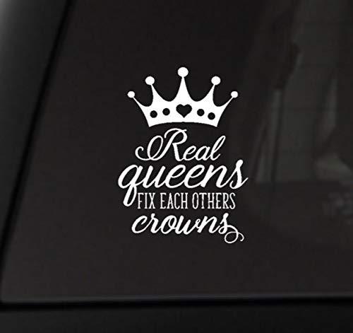Echte koninginnen repareren elke andere kronen, Vinyl Decal, Custom Decal, kronen Decal, Bumper Sticker, Voertuig Decal, Laptop Decal, Real Queens Decal