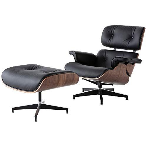 QXX Schwarz-Leder-Stuhl Replica Lounge Chair mit Ottoman Walnuss Holz Chaise Lounge Klassische echtes Leder Lounge Chair Bequem