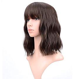 VCKOVCKO Pastel Wavy Wig With Air Bangs Women's Short Bob Pink Wig Curly Wavy Shoulder Length Pastel Bob Synthetic…