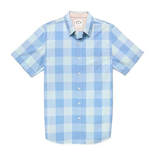 Dubinik Men's Plaid Short Sleeve Shirts Button-Down Casual Cotton Flannel Shirts Regular Fit With Pocket