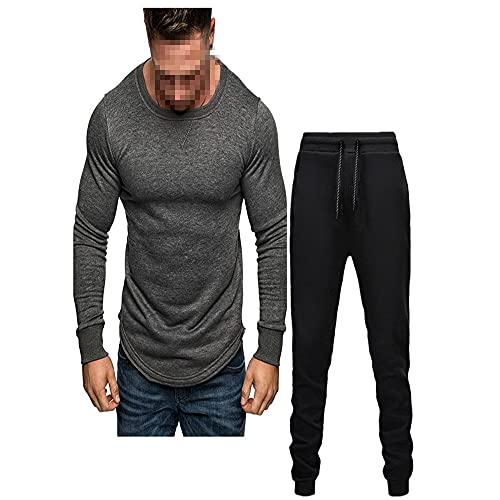 WAQD Track Suits for Men Set Long Sleeve Men's Hedging Hoodie Jogging Pants 2 Piece 3D Printing Sportswear Suits Men's Jogging Tracksuit Outfit Hoodie Sports Sweatsuit Pullover Suit Sets Dark Gray