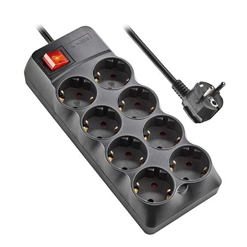 NGS POLE800 - Regleta de Enchufes con Protección contra Sobretensiones, Multienchufe con 8 Tomas Schuko e Interruptor, 250V CA hasta 10A