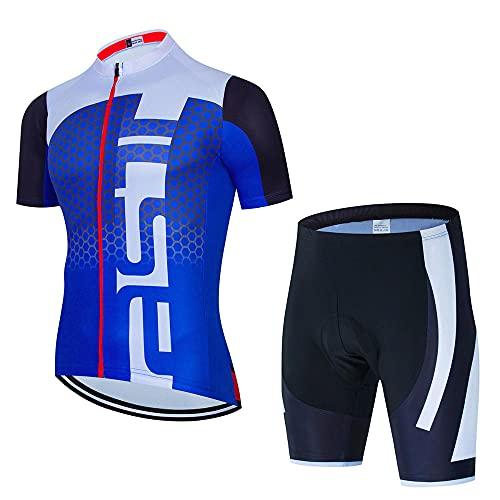 HXTSWGS Maillot Ciclismo Corto De Verano para Hombre,Conjunto de Jersey de Ciclismo de Verano Jersey de Bicicleta Deportiva de Carreras Transpirable Jersey de Bicicleta Corta para hombre-A04_XXL