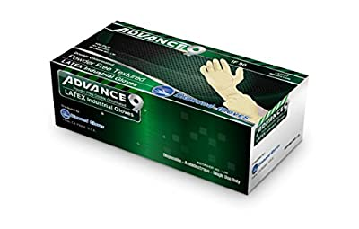 Diamond Gloves Advance9 Double Chlorinated Powder-Free Textured Latex Industrial Gloves, 100 Count
