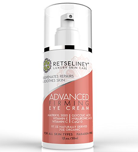 Retseliney Eye Firming Cream for Dark Circles, Puffiness, Wrinkles & Bags, Organic & Natural, Best Anti Aging Eye Tightening Lotion for Crow's Feet and Fine Lines Twice the Size