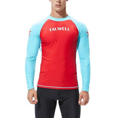 Yowablo Schwimmen T-Shirt Männer Langarm Rash Guard UV Sonnenschutz Skins Surfen Tauchen (XL,Rot)