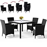 Deuba Poly Rattan Sitzgruppe Schwarz 4 Stapelbare Stühle & 1 Tisch 7cm Dicke Auflagen Sitzgarnitur Gartenmöbel Set