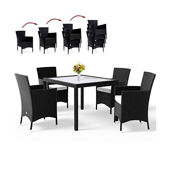 Deuba Poly Rattan Sitzgruppe 4+1 Stapelbare Stühle & Tisch 7cm Auflagen 4 Personen Sitzgarnitur Gartenmöbel Set Schwarz