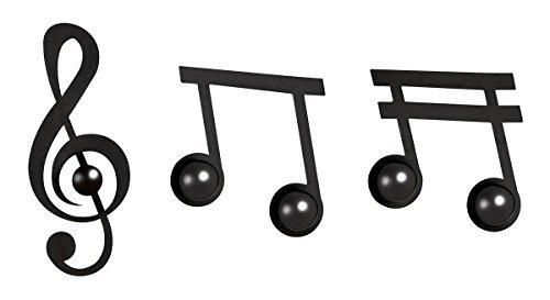 ARTI E MESTIERI - Set 3 ganci appendino appendiabiti NOTE MUSICALI Nero
