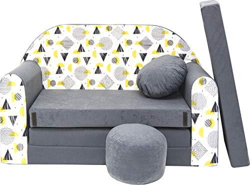 Pro Cosmo Kindersofa Bettfunktion 3in1 Sofa + Gratis Polsterhocker und Kissen Kindermöbel Set - AJ4 Grau 168 x 98 x 59cm