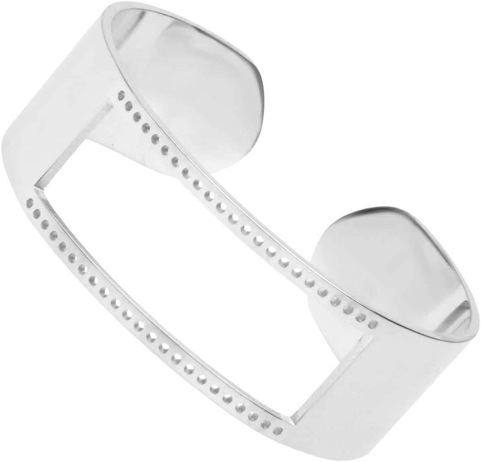 The Beadsmith Centerline Beadable Cuff Bracelet, Cutout and Holes 18mm, 1 Piece, Rhodium Plated