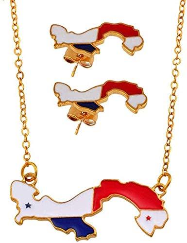 Aluyouqi Co.,ltd Collar Mapa de Colgantes Collares Pendientes Conjuntos de Joyas para Mujeres Niñas Tarjetas nian Joyas Fiesta Regalo Longitud 55Cm Plus 5Cm