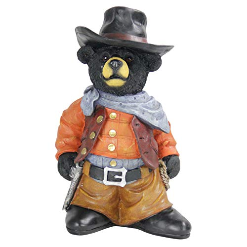 "Exhart Cowboy Bear Statue - Hand-Painted Bear Figurine in Cowboy Outfit, Cowboy Bear Resin Statue, Perfect as Country Rustic Indoor and Outdoor Decorations, 10.6"" L x 7.2"" W x 16.7"" H"