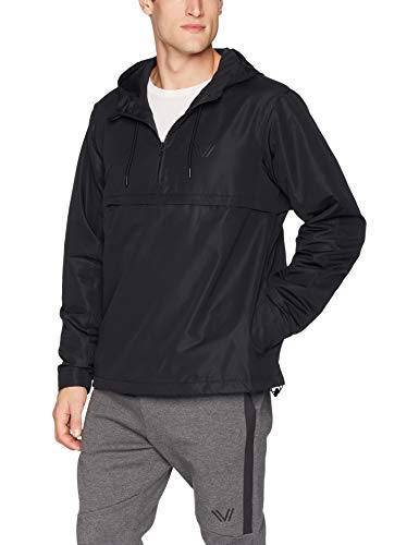 Amazon Brand - Peak Velocity Men's Zephyr Windbreaker Loose-Fit Anorak Jacket, Black, Large