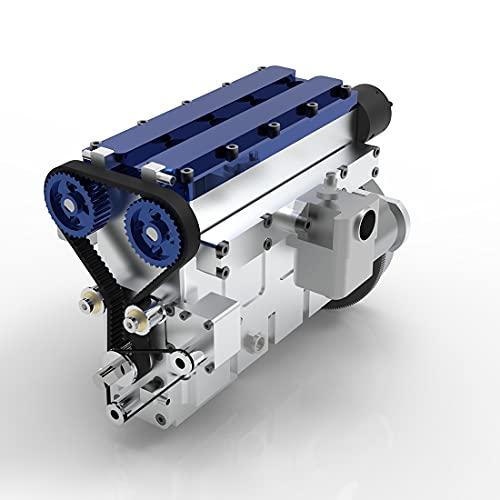 Elroy369Lion Motor de gasolina DOHC de 36 cc en línea de 4 tiempos, refrigerado por agua, para tanque de coche RC modelo de coche, CDI eléctrico, motor de simulación, color rojo