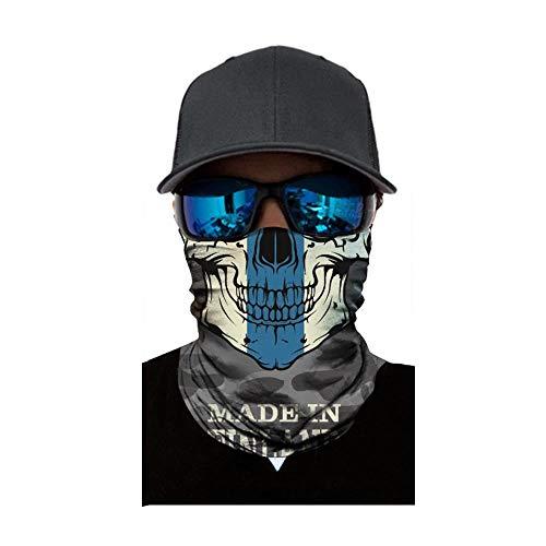 FIRSS Herren Multifunktionstuch 3D Radfahren Halstuch Erwachsene Halstuch Schlauchtuch für Motorrad Stirnband Winddicht Kopf Wrap Piratentuch Schal Kopftuch (One Size, B)