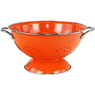 Calypso Basics by Reston Lloyd Powder Coated Enameled Colander, 3 Quart, Orange