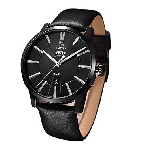 BENYAR Uhr Herren Quarzwerk Armbanduhr Lederband 43mm Edelstahl Minimalismus zifferblatt 30m Wasserdicht Elegant Geschenk für männer
