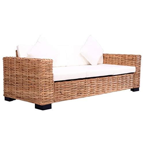 Festnight 3-Sitzer Gartensofa | Garten Lounge Sofa | Rattan-Lounge | Rattan Sofa | Outdoor Lounge Sessel | Rattan Gartenmöbel | Natürliches Rattan und Mangoholz 200 x 80 x 67 cm