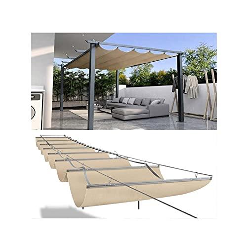 Marquesina Retráctil Para Restaurante Al Aire Libre Reserva 17 Mm En Los Pliegues De La Red De Sombra De Olas Instalación Más Hermosa Utilizado En Patios Al Aire Libre, Sombreado De Terraza De Jardín