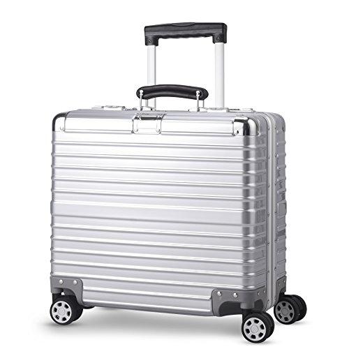 TABITORA(タビトラ) スーツケース 小型 超軽量 アルミフレーム キャリーバッグ 機内持ち込み ビジネス出張 TSAロック 静音 8輪 シルバー (ss, シルバー)