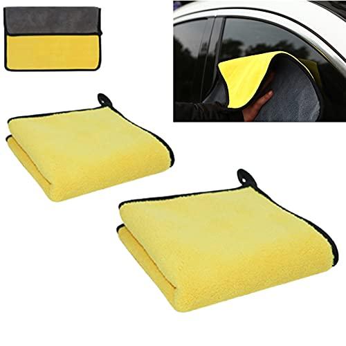 MONALA Paños de limpieza de microfibra para coche, toallas de microfibra de absorción engrosadas para limpieza de detalles de coches (amarillo+gris, 1 paquete de 30 x 30 cm + 1 paquete de 30 x 59 cm)