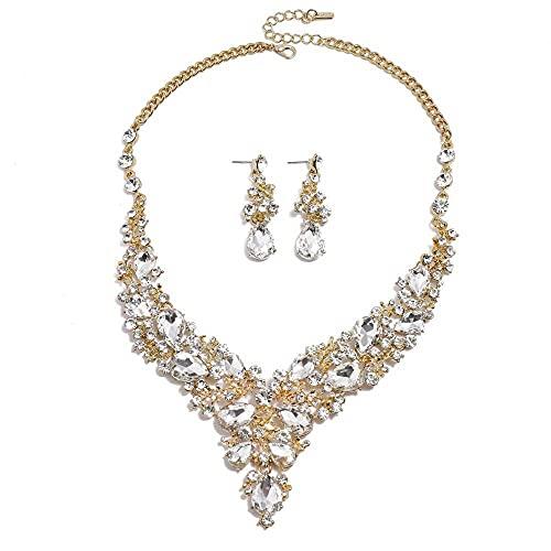 N\C Conjunto De Aretes De Collar De Lujo Ligero Exagerado Temperamento De Moda Colorido Collar Largo De Diamantes Completo Femenino Plata de Colores