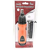 Screwdriver Electric Screwdriver Operated Cordless Screwdriver Drill Tool Electric Screwdriver Set + 11Pcs/14pcs Bits Accessories H4343 - (Color: Orange)