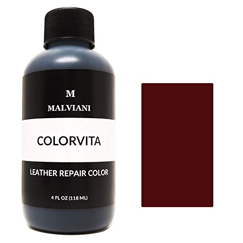 Malviani Leather Repair Color Restorer - Restore Furniture, Couch, Car Seats & Vinyl (No Kit) - 4 oz. Oxblood Red