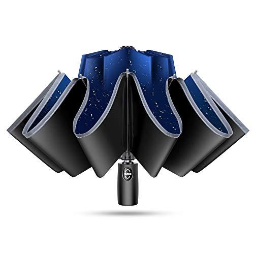 TSUNEO 【傘専門 逆折り式 10本骨】 折りたたみ傘 自動開閉 軽量 メンズ レディース 折り畳み傘 軽量 晴雨兼用 超撥水 梅雨対策 台風対応 高強度グラスファイバー 収納ポーチ付き (ブルー)