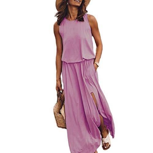 SUNNSEAN Vestidos Verano, Traje de Vestir Largo Vestido de Cuello Redondo sin Mangas Color Solido Casual Vestido de Chaleco Faldas Largas de Verano Playa Vestido