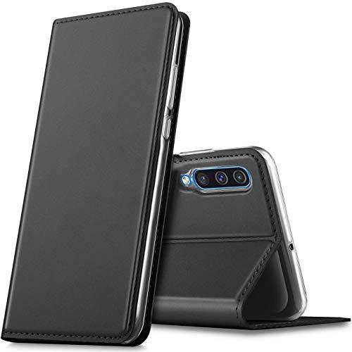 Verco Handyhülle für Galaxy A50, Samsung A30s Hülle Premium Handy Flip Cover für Samsung Galaxy A50 Hülle [integr. Magnet] Book Hülle PU Leder Tasche, Schwarz