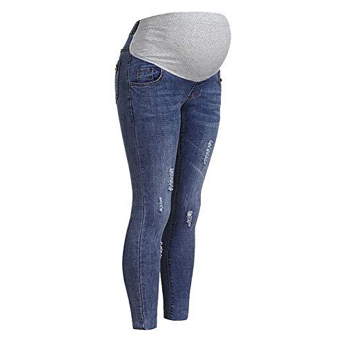 DAY8 Jeans Premaman Skinny Strappati Pantaloni Premaman Donna Inverno Regolabili Pantalone Donna Gravidanza Denim Vita Alta Taglie Forti Eleganti Casual Moda Confortevole (Blu, L)