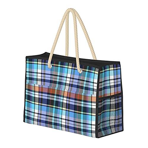 Bolsa de playa grande y bolsa de viaje para mujer – Bolsa de piscina con asas, bolsa de semana y bolsa de noche – turquesa y real Madras Plaid