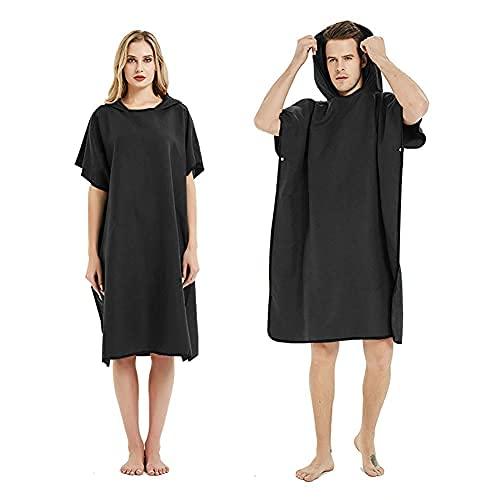 jiuyao Albornoz cambiador para baño de playa, natación, surf, capucha poncho, toalla de secado rápido (color marino) (negro)
