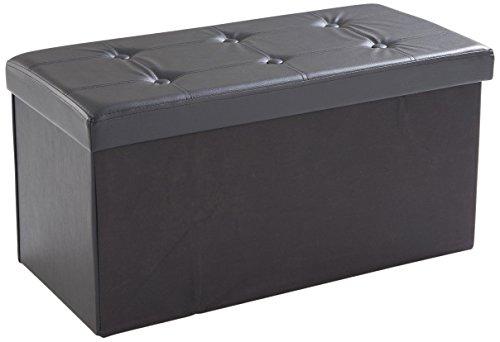 Soliving Jimmy Pouf Pliant avec Rangement, PVC, Noir, 76 x 38 x 38 cm