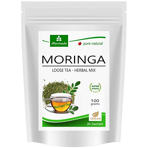 MoriVeda® Moringa Oleifera Tee – 100g geschnittene Blattmasse, Herbal I 100% vegan, fructosefrei, glutenfrei & Zertifiziert durch USDA & ISO