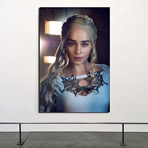 NIMCG Daenerys Targaryen Lienzo Pintura Carteles Impresiones Mármol Arte de la Pared Pintura Cuadros Decorativos Decoración Moderna del hogar 60x80CM (Sin Marco)