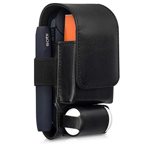 kwmobile Custodia Pelle PU Compatibile con IQOS 2.4 2.4 Plus Pocket Charger - Astuccio Sigaretta Elettronica E-Cig - Porta Heet e Cleaner Nero