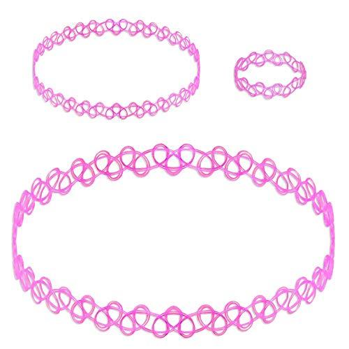 tumundo Tattokette 1 Farbenset aus 3 Stück oder Set aus 18 Stück Tattoo-Kette Halskette Ring Armband Henna Retro Choker Geschenkbox, Modell:pink