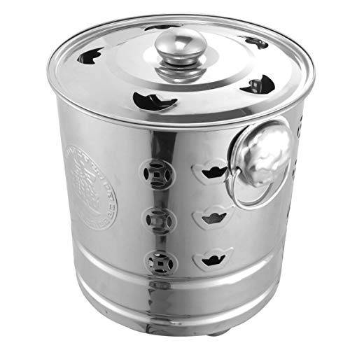 Cabilock Burn Bin with Tongs Stainless Steel Incinerator Burn Barrel Incinerator Cage Ash Bucket Fire Pit Wood Burning Pit for Outdoor Patio Backyard